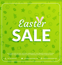 Easter sale banner green background vector