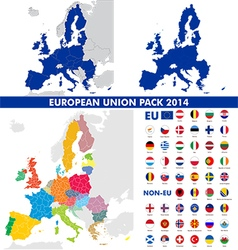 European union map and flags pack vector image vector image