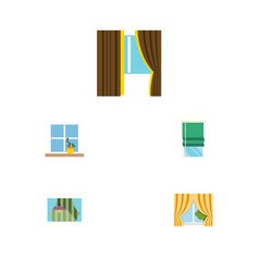 flat icon glass set of glass balcony curtain and vector image vector image