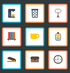flat icons watch bookshop espresso machine and vector image vector image