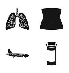 Human lungs body part and other web icon in black vector