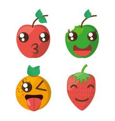 Kawaii fruits cheerful collection vector