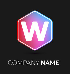 letter w logo symbol in colorful hexagonal vector image vector image