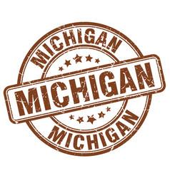 Michigan brown grunge round vintage rubber stamp vector