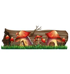 Mushroom houses by the log vector