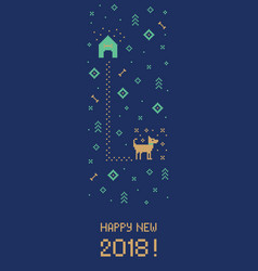 new year 2018 cross stitch dog banner pixel art vector image