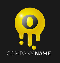 O letter splash logo yellow dots and bubbles vector