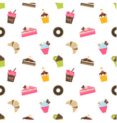 Pattern with cupcakes and pieces of cake vector