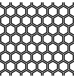 Repeating black and white hexagon pattern vector