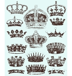 Royal Crowns cracked style vector image vector image
