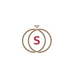 s letter ring diamond logo vector image