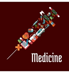 Syringe shaped health care or medicine icons vector