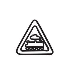 Train sign sketch icon vector