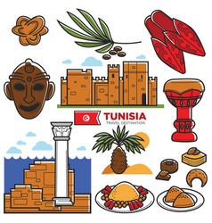 tunisia travel tourism famous symbols and tourist vector image