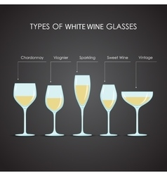 types of white wine glasses vector image vector image