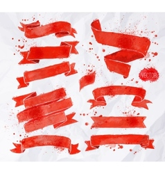 Watercolors ribbons red vector