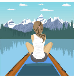 Woman traveler floating on boat on mountain lake vector