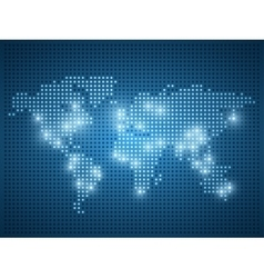 World map on blue background vector image