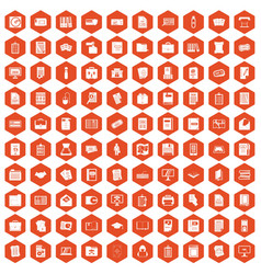 100 document icons hexagon orange vector