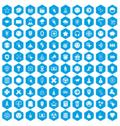 100 interface pictogram icons set blue vector