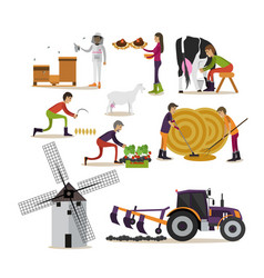 set of farming concept design elements in vector image