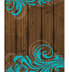 wooden background with floral ornament vector image
