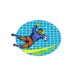 Goalie soccer football player retro vector
