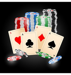 4 aces on black background vector