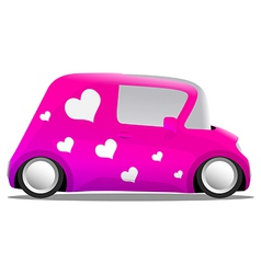 Love and heart mini cartoon car pink vector