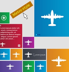 Aircraft icon sign buttons modern interface vector