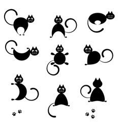 Nine black cats vector