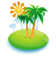 Summer concept -green island and palms - vector