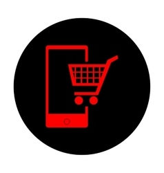 Shopping on smart phone sign vector