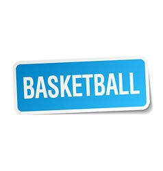 Basketball blue square sticker isolated on white vector