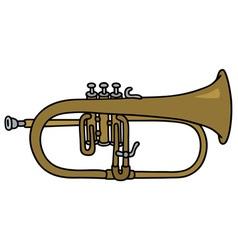 Classic brass trumpet vector image