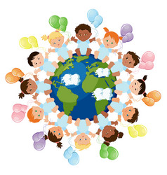 Babies around the earth vector