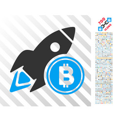 bitcoin rocket flat icon with bonus vector image vector image