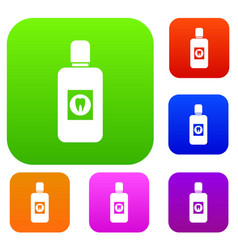 Bottle of mouthwash set collection vector
