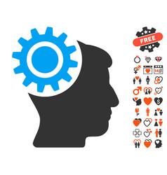 Brain gear icon with love bonus vector