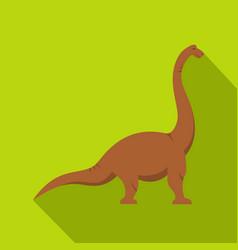 brown brachiosaurus dinosaur icon flat style vector image vector image