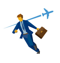 Businessman rushing airplane on background vector