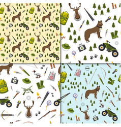 camping trip seamless pattern set accessories and vector image
