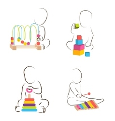 Children play with educational toys baby vector