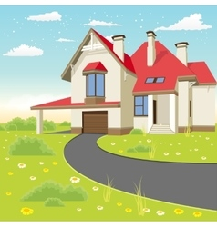Classic cottage in the summer landscape vector