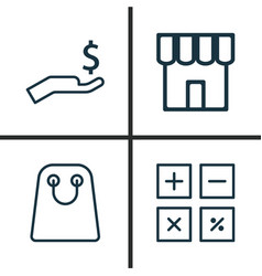 Commerce icons set collection of shop rich tote vector