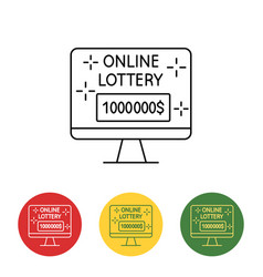 Computer image online lottery on the screen vector