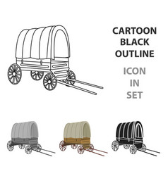 Cowboy wagon icon cartoon singe western icon from vector