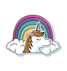 Cute fantasy unicorn with rainbow character vector