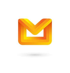 E-mail envelope letter m logo icon design template vector