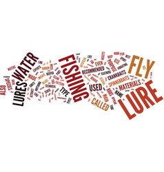 Fly lures text background word cloud concept vector